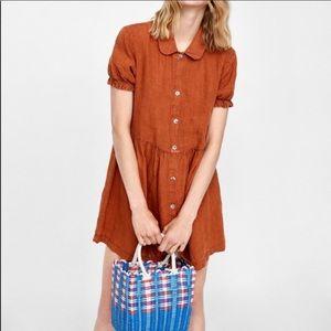 Zara Brown Linen Rust Mini Dress